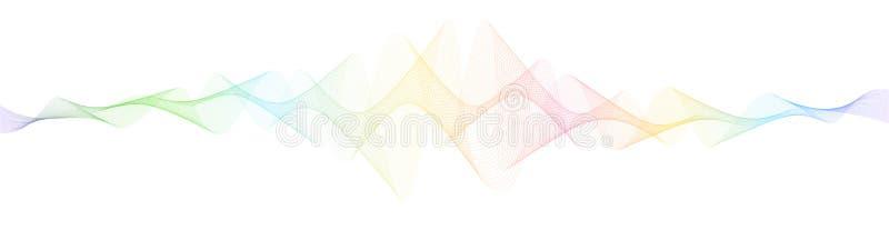 Fondo futuristico con le onde dinamiche, linea arte di vettore Bande ondulate scorrenti variopinte, linee torte astratte royalty illustrazione gratis