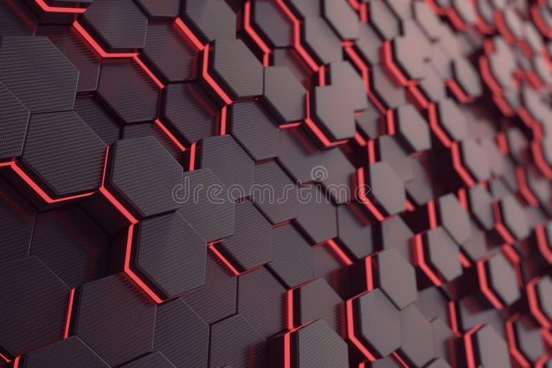 Fondo futuristico d'ardore rosso di esagono rappresentazione 3d illustrazione di stock