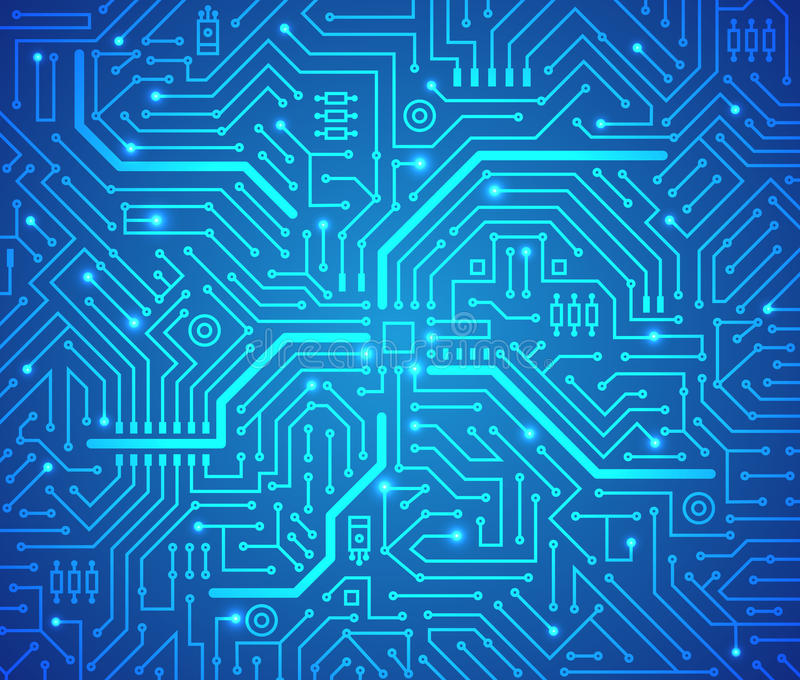 Fondo futuristico del blu di schema di tecnologia Vettore royalty illustrazione gratis