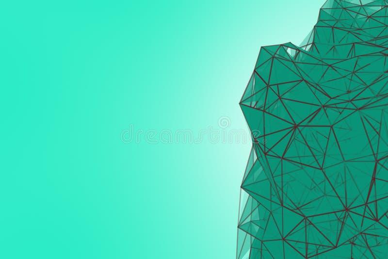 Fondo futuristico del turchese di tecnologia Fantasia futuristica del triangolo del plesso della menta rappresentazione 3d immagine stock