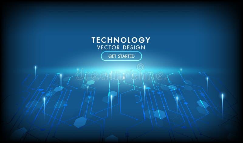 Fondo futuristico dell'estratto di vettore della rete del collegamento a Internet Alto colore blu scuro di tecnologie informatich illustrazione vettoriale