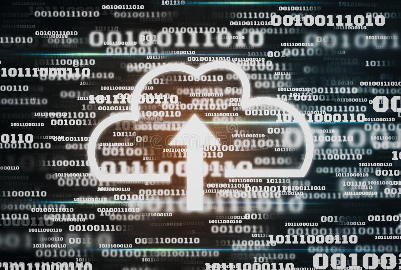 Fondo futuristico di codice binario di dati digitali e tecnologia di calcolo dell'icona della nuvola, concetto di conservazione i fotografie stock