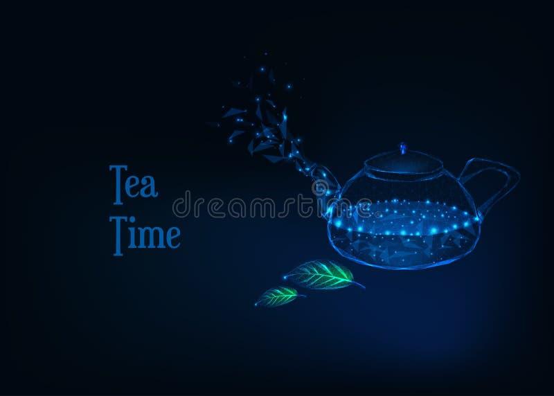 Fondo futuristico di tempo del tè con il bollitore poligonale basso d'ardore con acqua bollente e le foglie di tè illustrazione di stock