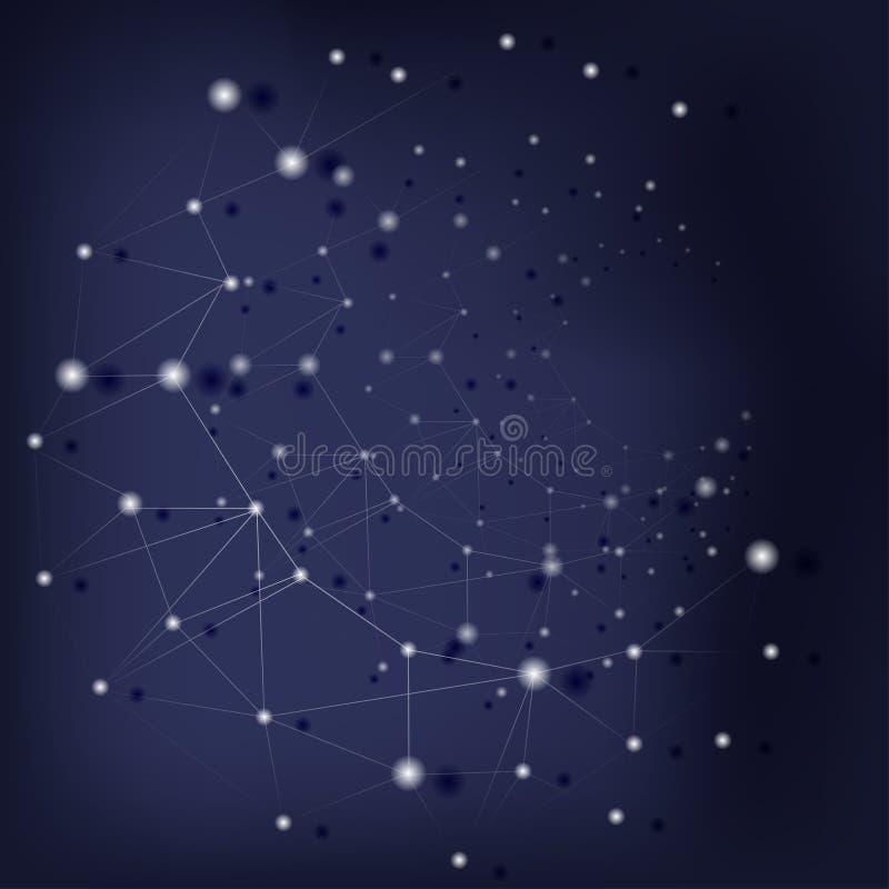 Fondo futuristico scientifico con la struttura molecolare astratta sopra blu scuro illustrazione di stock