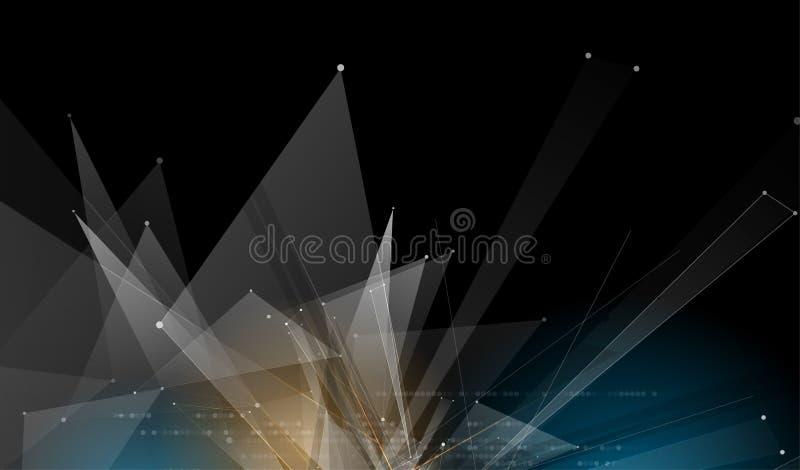Fondo futuristico virtuale astratto di affari di tecnologie informatiche di dissolvenza illustrazione di stock