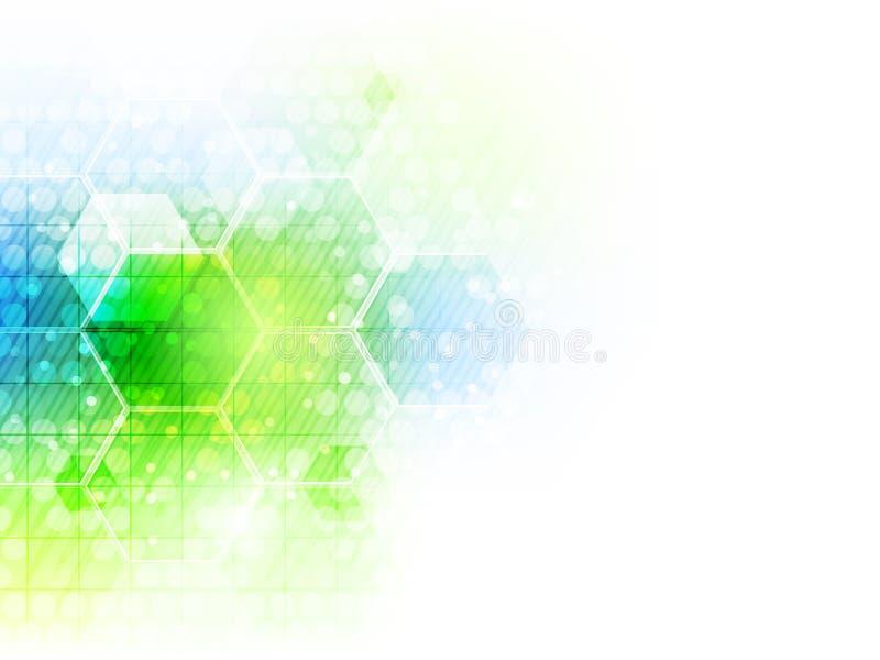 Fondo futuro abstracto de la tecnología del negocio con el modelo del hexágono stock de ilustración