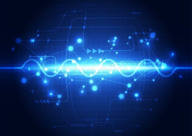 Fondo futuro astratto di concetto di tecnologia, illustrazione di vettore