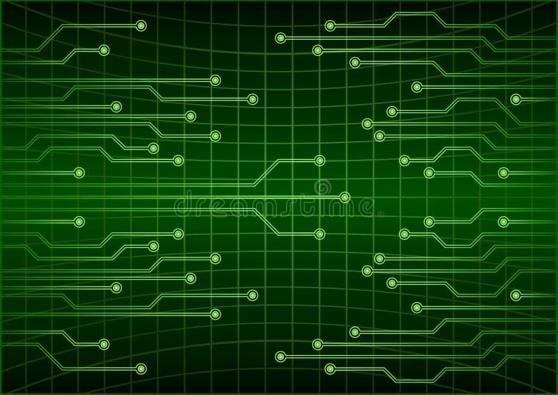 Fondo futuro cibernético abstracto verde del concepto de la tecnología, circuito, código binario Ilustración del vector del EPS 1 stock de ilustración