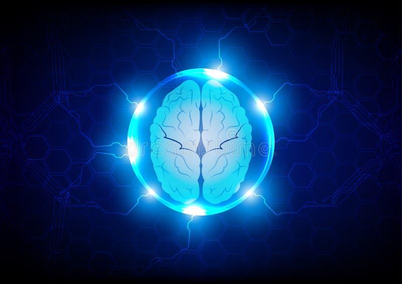 Fondo futuro del concepto de la tecnología del cerebro abstracto, enfermo stock de ilustración