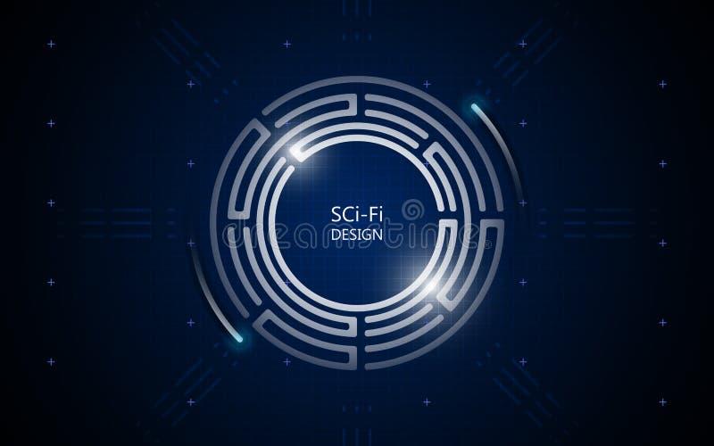 Fondo futuro di concetto di fi di sci di tecnologia di progettazione del cerchio astratto illustrazione di stock