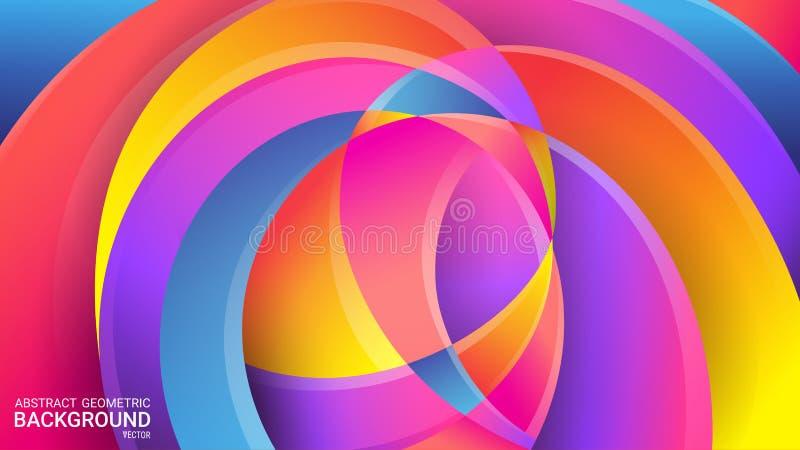 Fondo geométrico abstracto brillante Vector Colores coloridos del arco iris Distorted que entrecruza líneas onduladas 3D efecto,  stock de ilustración
