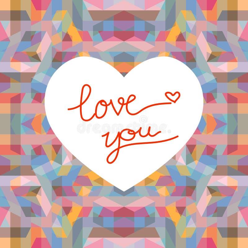 Fondo geométrico abstracto con la forma del corazón para las tarjetas del día de San Valentín DA libre illustration