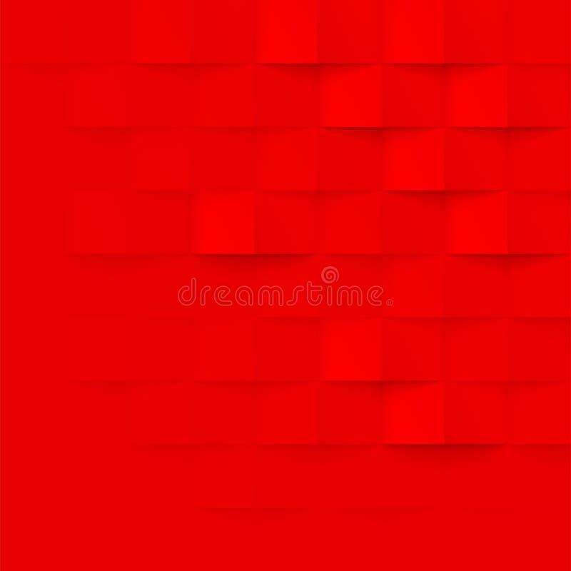 Fondo geométrico abstracto de la textura de la pared de ladrillo del vector del modelo del rojo 3d stock de ilustración