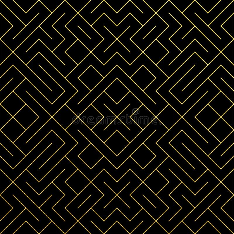 Fondo geométrico abstracto de oro de la teja del modelo con textura de la malla del oro que brilla Modelo inconsútil del vector d libre illustration