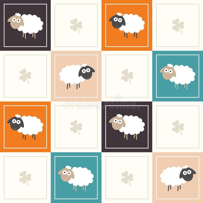 Fondo geométrico abstracto del modelo con los cuadrados coloridos, las ovejas y tres tréboles de la hoja ilustración del vector