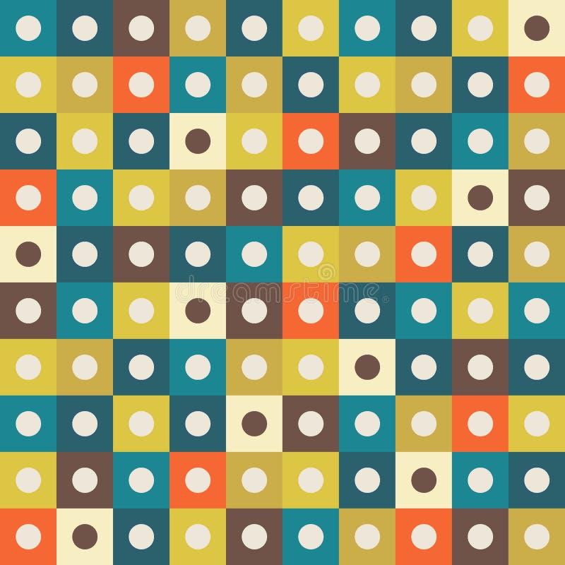 Fondo geométrico abstracto del modelo con los cuadrados coloridos y los círculos ligeros libre illustration