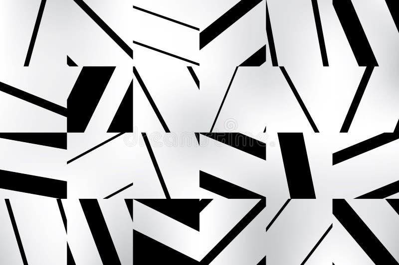 Fondo geométrico abstracto del modelo con los cuadrados rayados blancos y negros Usted puede cubrir su imagen stock de ilustración