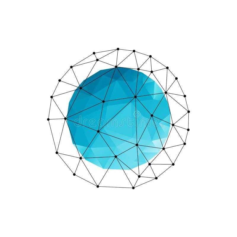 Fondo geométrico abstracto del vector con el triángulo azul stock de ilustración
