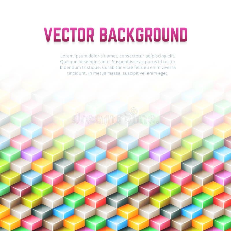 Fondo geométrico abstracto del vector con los cubos 3D stock de ilustración