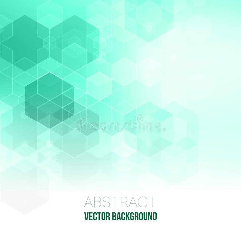 Fondo geométrico abstracto del vector Diseño del folleto de la plantilla Forma verde del hexágono stock de ilustración