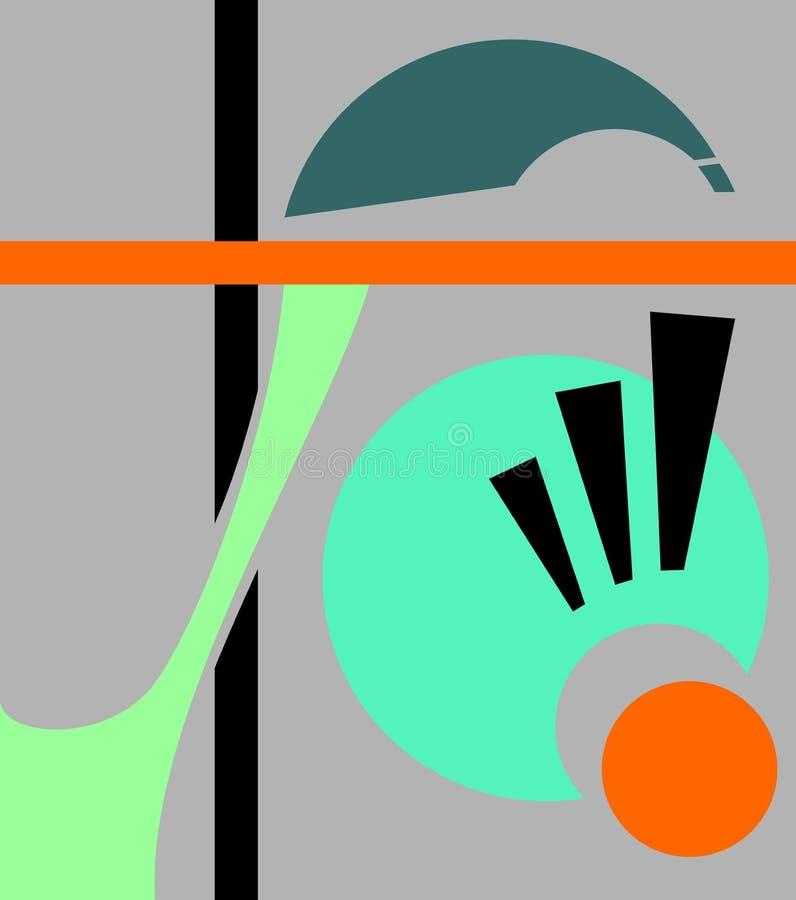 Fondo geométrico abstracto, estilo del arte del cubismo, formas simples y formas Ejemplo de un ojo que mira abajo, asombro stock de ilustración