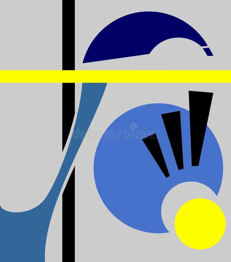 Fondo geométrico abstracto, estilo del arte del cubismo, formas simples y formas Ejemplo de un ojo que mira abajo, asombro libre illustration