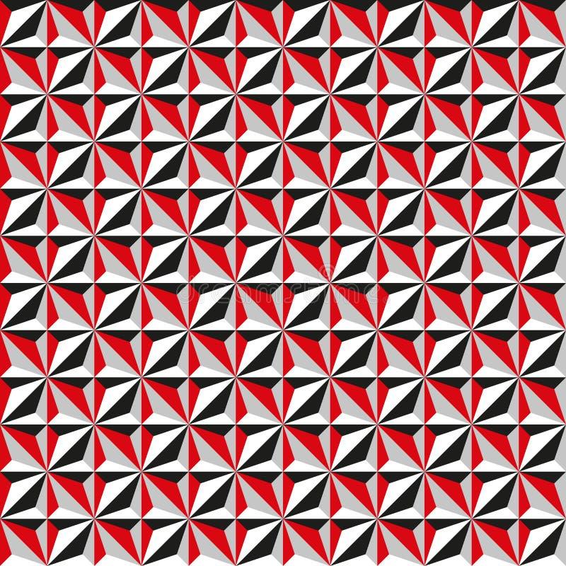 Fondo geométrico abstracto inconsútil del modelo de la textura en rojo, blanco y negro ilustración del vector