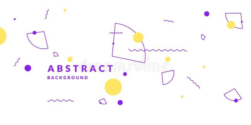 Fondo geométrico abstracto retro El cartel con las figuras planas ilustración del vector