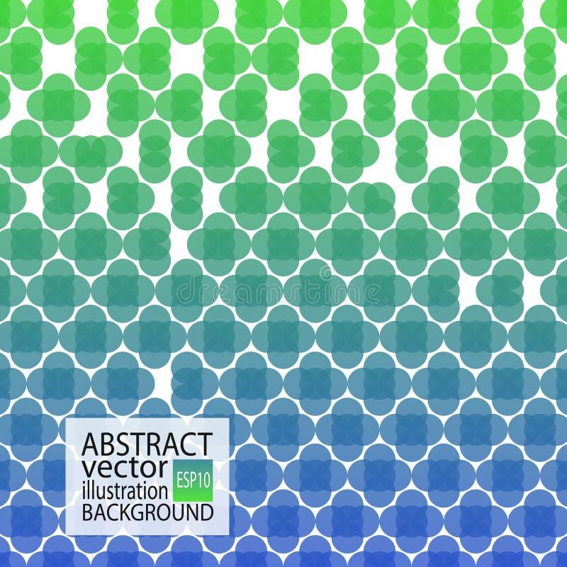 Fondo geométrico abstracto verde y azul de círculos y de cruces para el protector de pantalla, bandera, artículo, posts, textura, stock de ilustración