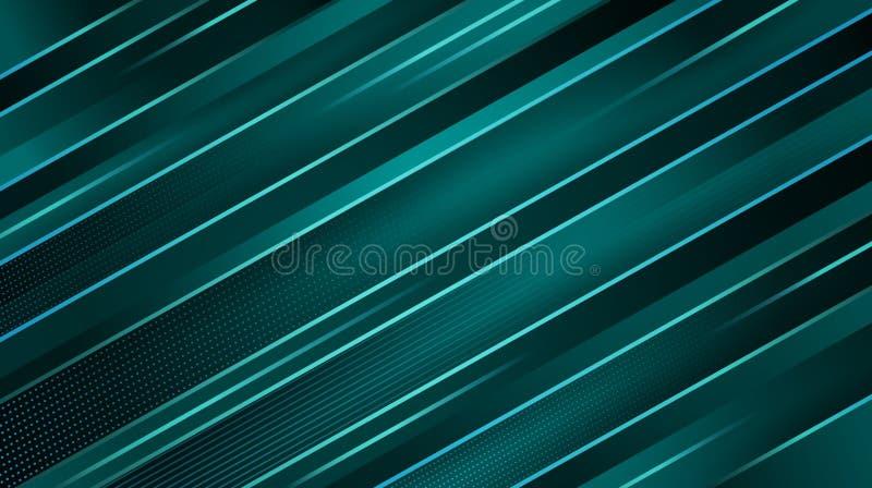 Fondo geométrico azul marino del extracto Líneas diagonales que brillan intensamente de la turquesa Diseño mínimo ilustración del vector