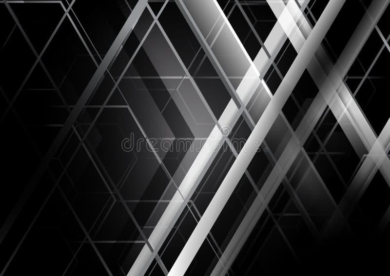 Fondo geométrico blanco y negro abstracto del concepto ilustración del vector