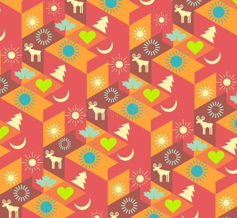 Fondo geométrico colorido moderno con símbolos de la Navidad stock de ilustración