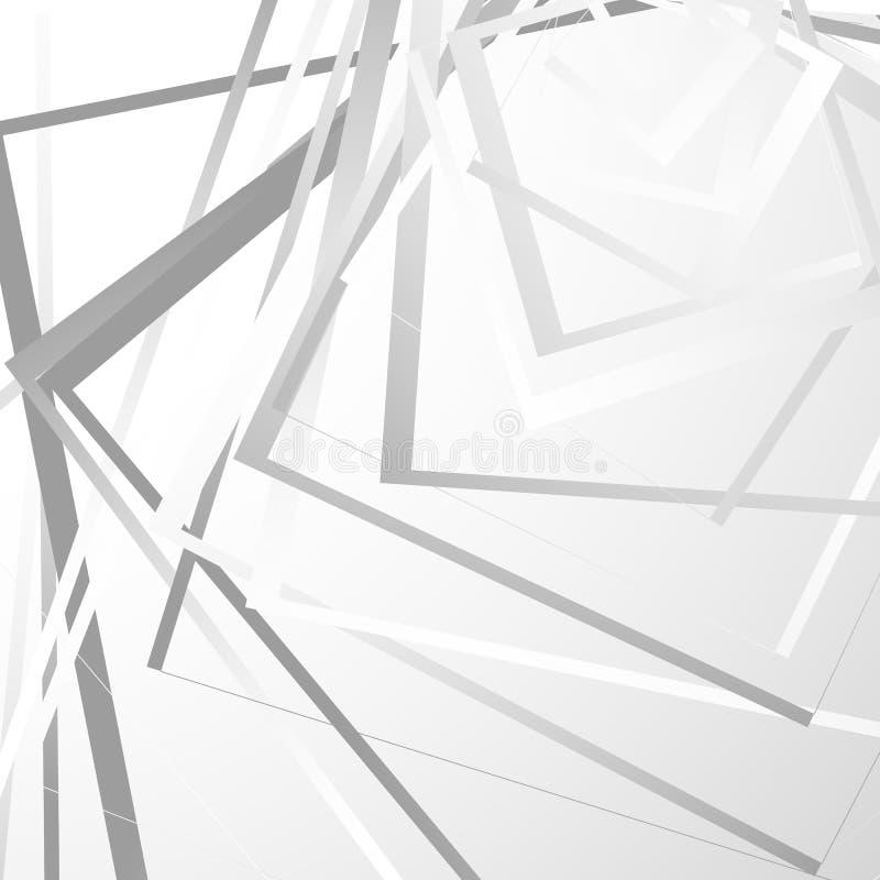 Fondo geométrico con cuadrados al azar Modelo monocromático nervioso ilustración del vector