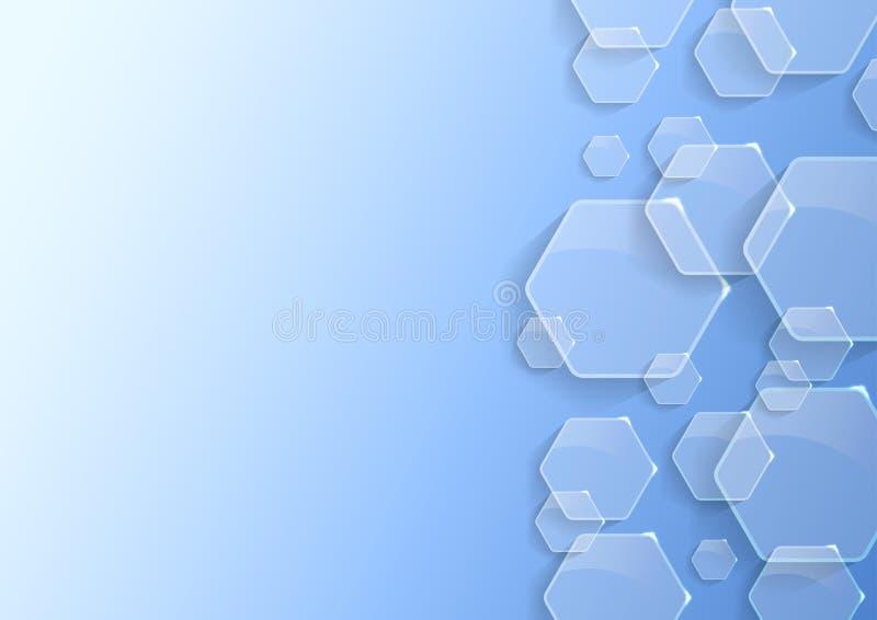 Fondo geométrico con hexágonos transparentes ilustración del vector