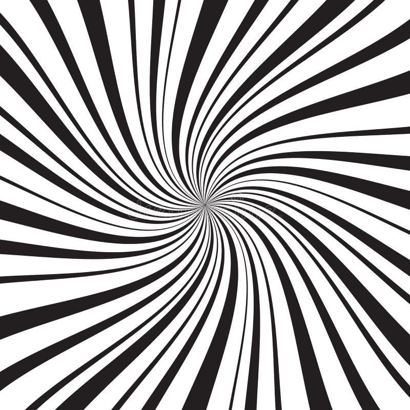 Fondo geométrico con los rayos, las líneas o las rayas radiales finas y gruesas remolinando alrededor de centro Contexto con la r stock de ilustración