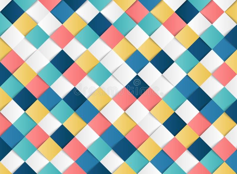 Fondo geométrico de la decoración del corte del papel del diseño del modelo del cuadrado colorido abstracto Vector eps10 del ejem ilustración del vector