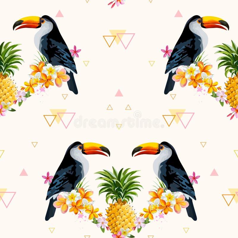 Fondo geométrico de la piña y del tucán Pájaro tropical stock de ilustración