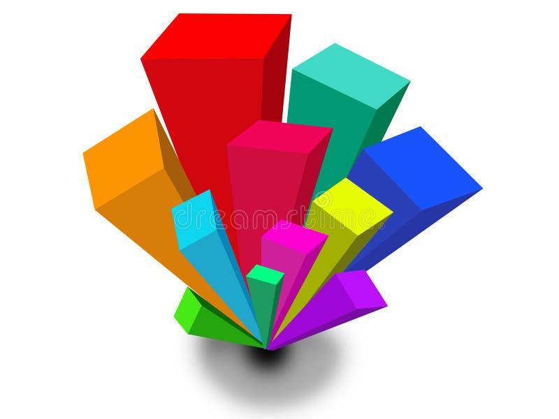 fondo geométrico de las formas de barra 3D stock de ilustración