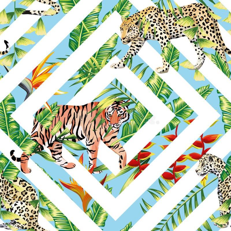 Fondo Geométrico De Las Hojas Tropicales Inconsútiles Del Leopardo ...