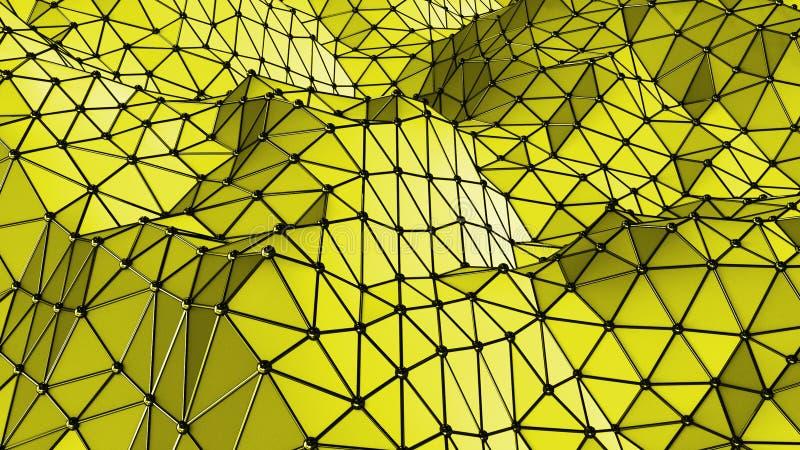 Fondo geométrico de los triángulos superficiales amarillos stock de ilustración
