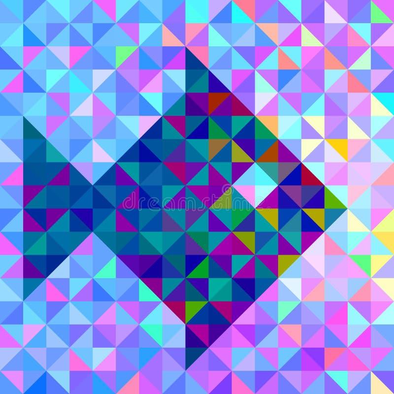 Fondo geométrico del color con los pescados estilizados ilustración del vector