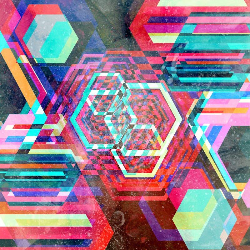 Fondo geométrico del diamante de la acuarela abstracta libre illustration