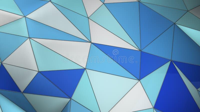 Fondo geométrico del extracto azul y blanco del plexo con los triángulos 3d rendir stock de ilustración