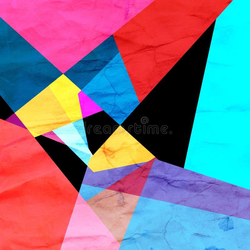 Fondo geométrico del extracto del color de la acuarela stock de ilustración