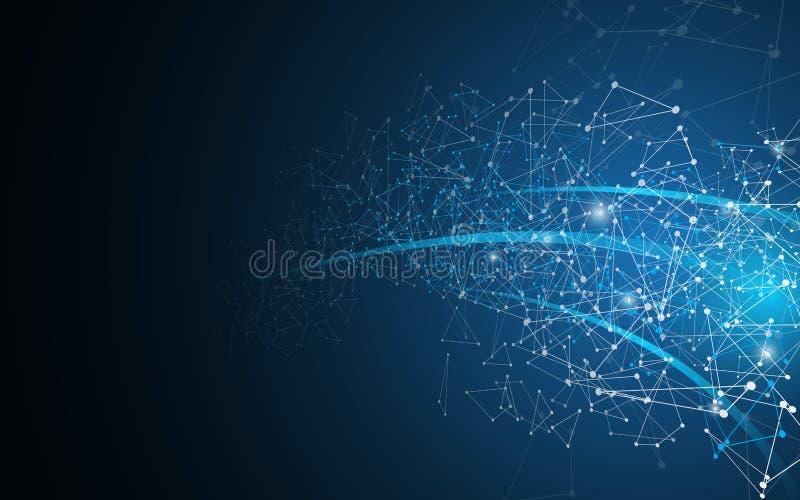 Fondo geométrico del fi del sci de la tecnología del diseño de la dimensión de la perspectiva del movimiento del polígono abstrac stock de ilustración