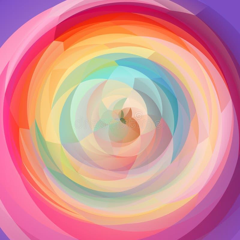 Fondo geométrico del remolino del arte abstracto - arco iris lleno del espectro coloreó - púrpura vibrante, rosado, amarillo, ver ilustración del vector