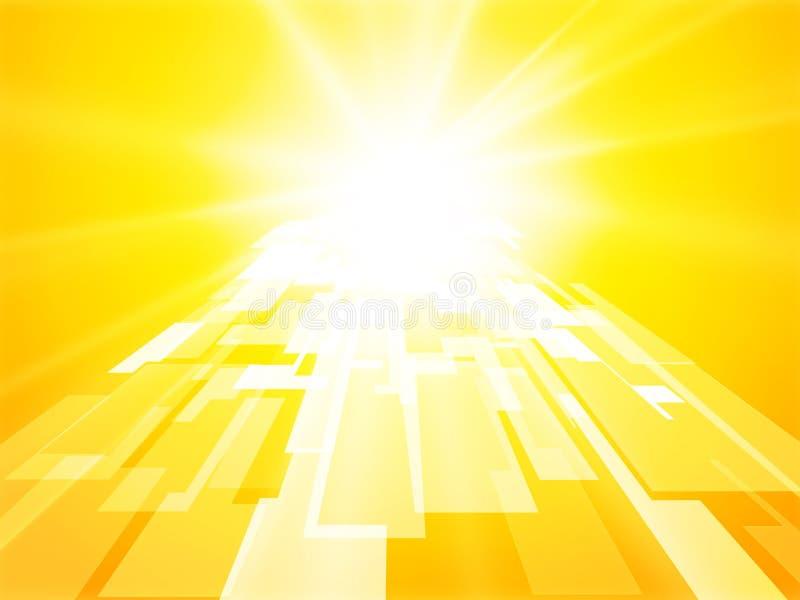 Fondo geométrico del sol de la puerta de la perspectiva abstracta del amarillo ilustración del vector