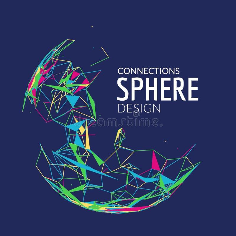 fondo geométrico del vector 3d para la presentación del negocio o de la ciencia Línea esfera del polígono de la red Concepto abst stock de ilustración