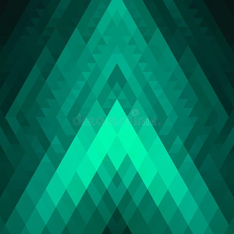Fondo geométrico del verde del extracto de Rhombus y de cuadrados Modelo poligonal brillante texturizado efecto del resplandor ilustración del vector