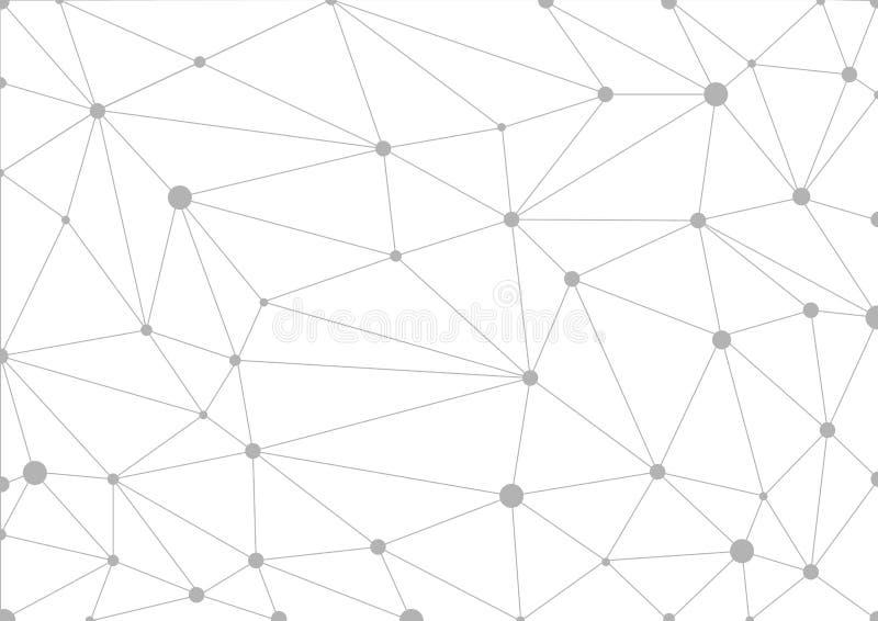 Fondo geométrico gris abstracto con las líneas y los puntos conectados stock de ilustración
